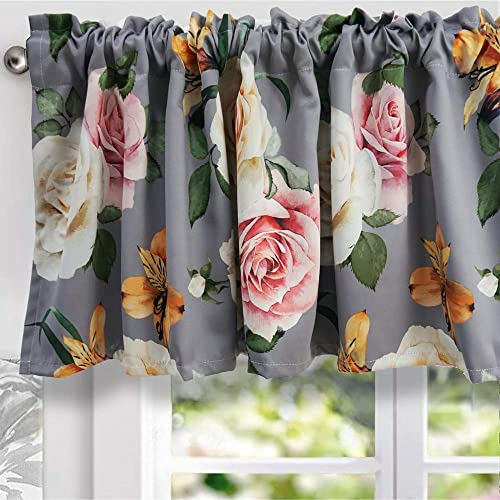 YoKII Floral Valances for Windows 18 L Room Darkening Shabby Chic Boho Valance Curtains Blackout Window Treatments for Kitchen Bedroom Living Room Decors W52 x L18, Grey