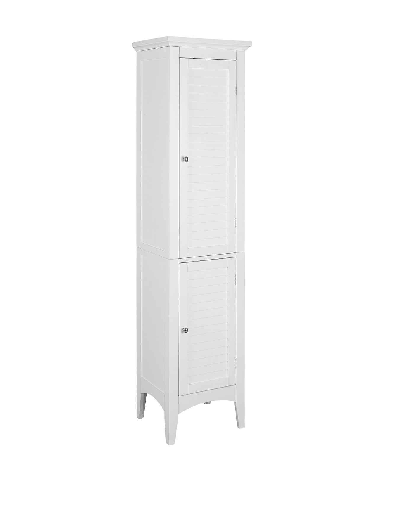 Elegant Home Fashions Sicily Linen Tower with 2 Shutter Doors, White by Elegant Home Fashions