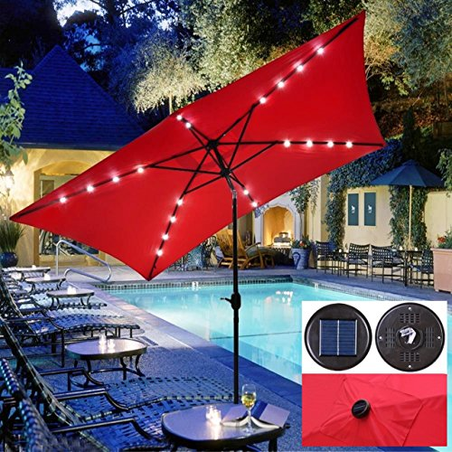 New UV Blocking 10' x 6.5' Rectangle Umbrella Patio Outdoor Bistro Balcony Wall Window Sunshade W/Solar LED Red #903 (Umbrellas Target At Patio Red)