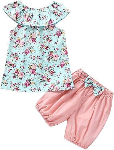 YWLINK Conjunto Verano Infantil Bebé NiñA Mezcla De AlgodóN Camisetas Sin Mangas con Estampado Floral + Pantalones Cortos De Arco SóLido Conjuntos Conjuntos Azul Encantadora Y Fresca 3 Meses - 3 AñOs: