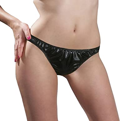 Womens Low Waist Stretch Knickers Underwear Wet Look T Back Lingerie Panties