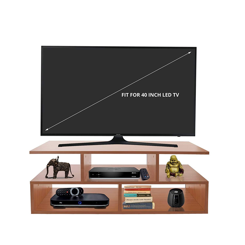 Klaxon Vector Engineered Wood TV Unit/Display Storage Cabinet Rack with Decor Shelf (Cherry)