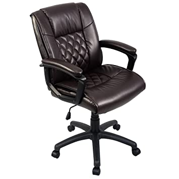 giantex ergonomic pu leather mid back executive computer desk task office chair brown amazoncom bestoffice ergonomic pu leather high