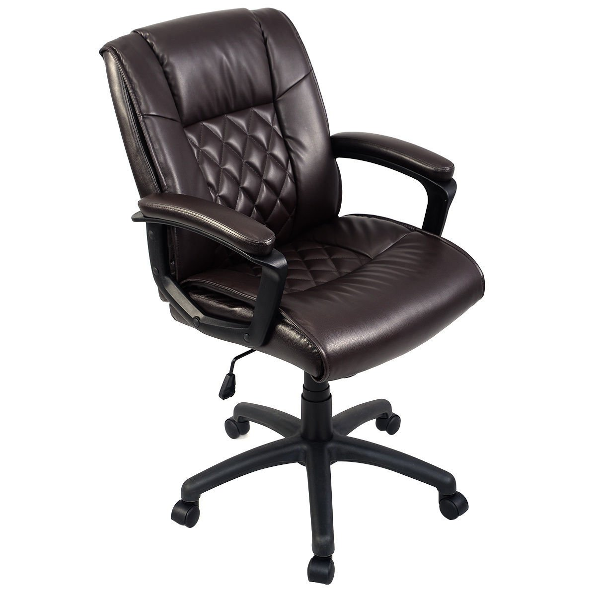 Giantex Ergonomic Task Chair PU Mid-Back Leather Executive Computer Desk Task Office Chair (Brown 26''X 30''X37.6''-42'')