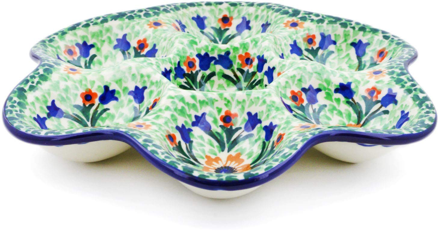 Polish Pottery 8¼-inch Egg Plate made by Ceramika Artystyczna (Autumn Splendor Theme) Signature UNIKAT + Certificate of Authenticity