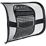 """ACVCY Mesh Lumbar Support for Car Seat or Office Chair, Breathable Seating Cushion for All Types Car Seats Office Chair 12"""" x 16"""" (Black Beads)"""