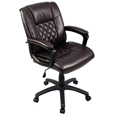Giantex Mid Back Office Chair PU Leather Ergonomic Adjustable Computer Desk Chair with Padded Armrest and Swivel Wheels, Task Office Chair Chair (Brown 26 X 30 X37.6 -42 )