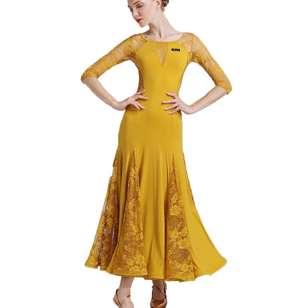 MoLiYanZi Professionel Standardtanz-Outfit Für Frauen Schnüren Spleißen Walzer Moderne Moderne Moderne Tanzkleider Trainieren Tanzkostüme Hohle zurück B07D7WX6X3 Bekleidung Die Farbe ist sehr auffällig 1e35e4