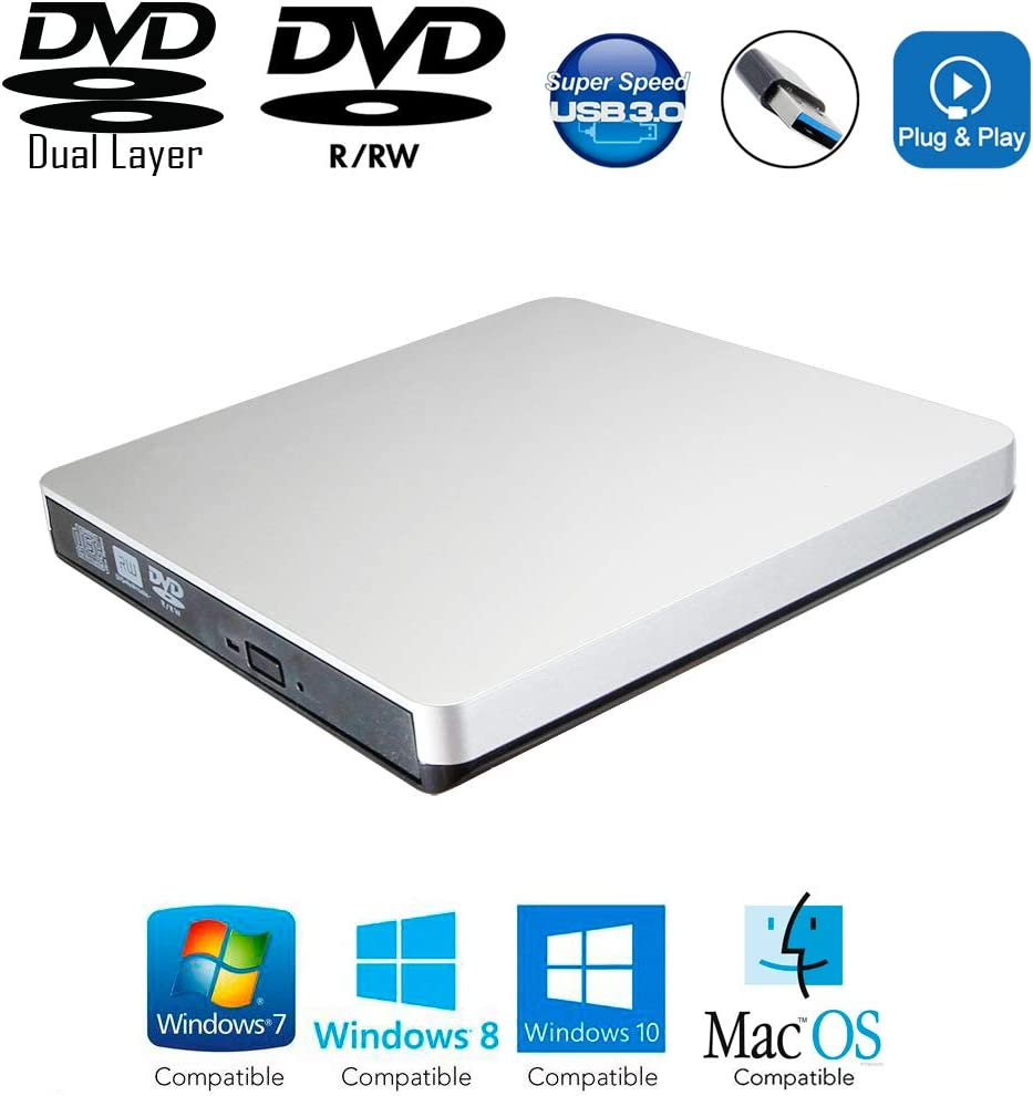 USB 3.0 External DVD CD Burner Portable Optical Drive for HP Envy Spectre X360 360X 360 15 13 15t 13t 2019 2018 2in1 Convertible Touch Laptop, Dual Layer 8X DVD+R/RW DL 24X CD-R Recorder