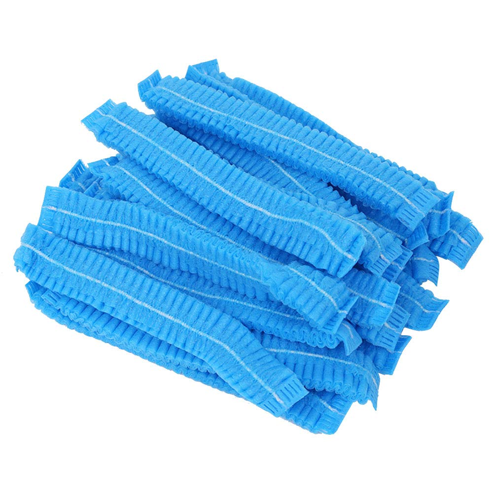 100pcs Non-woven Dust Cap Disposable Hair Cap Set Bouffant Cap Anti Dust Hat(Blue) Lurrose