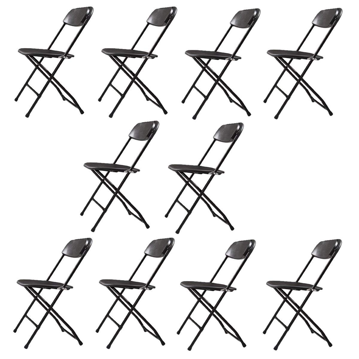 Sandinrayli 10-Pack Plastic Folding Chairs Wedding Banquet Seat Premium Party Event Chair Black by Sandinrayli