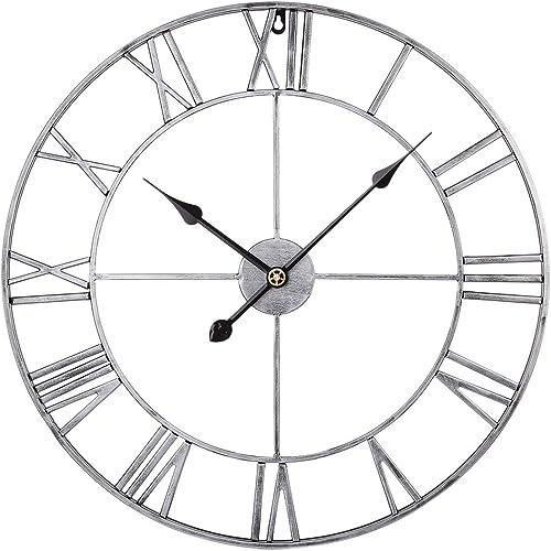 RuiyiF 24 Inch Metal Wall Clock Large Decorative Rustic Farmhouse Oversized
