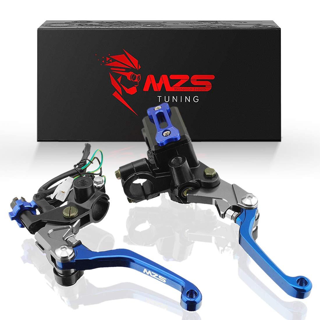 MZS 7/8'' Brake Master Cylinder Reservoir Pivot Levers for Honda Yamaha Suzuki Kawasaki KTM and more Blue by MZS