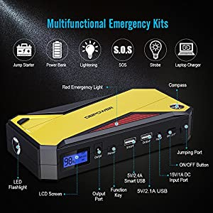 DBPOWER 600A Peak 18000mAh Portable Car Jump Starter (up to 6.5L Gas/ 5.2L Diesel Engine) Power Pack Battery Booster, Power Bank with Smart Charging Port, Compass, LCD Screen & LED Flashlight (Yellow)