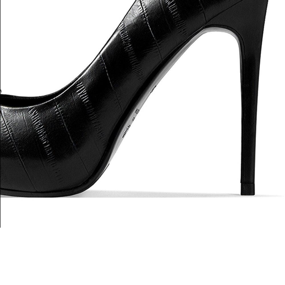 Snfgoij Frau Weiß High Heels Strass Mode Sexy Arbeit Arbeit Arbeit Gericht Schuhe Nachtclub Hochzeit Wasserdichte Plattform Frauen Schuhe Leder Party,schwarz-11cm-EU 36 UK 4 2d5a4b