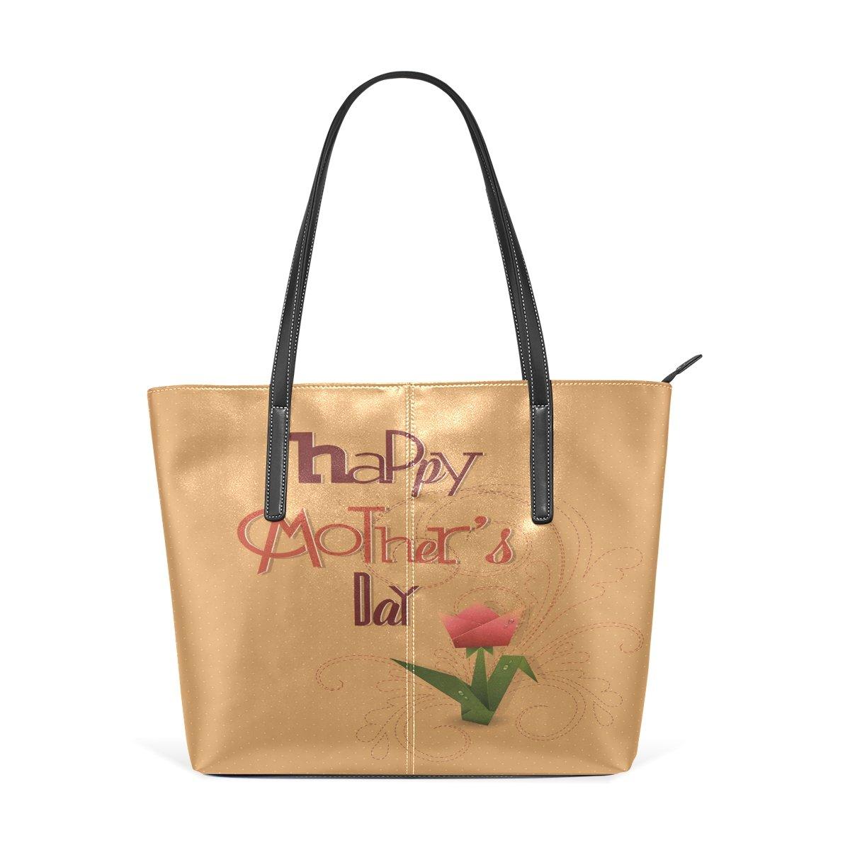 Womens Leather Top Handle Shoulder Handbag Golden Flowers Large Work Tote Bag