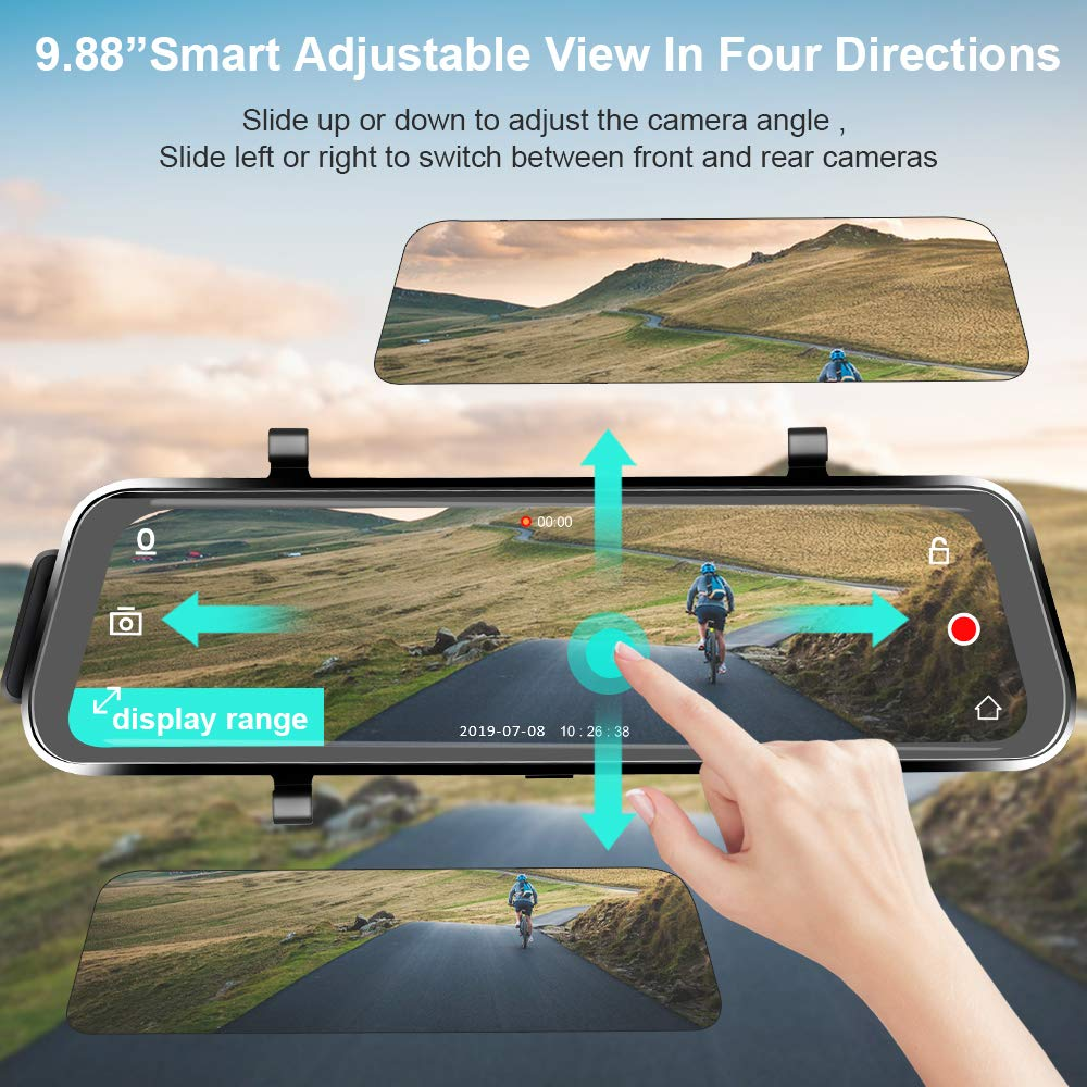 Directtyteam Mirror Dash Cam Backup Camera,1080P HD 9.88 Full Touch Screen Car Rear View Mirror Camera Dual Lens Front Rear Dashcam Video Recorder Parking Monitor,Night Vision Waterproof Rearview