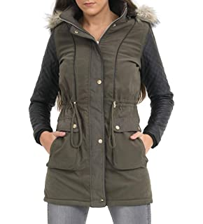 SS7 Womens Cream Faux Fur Padded Coat
