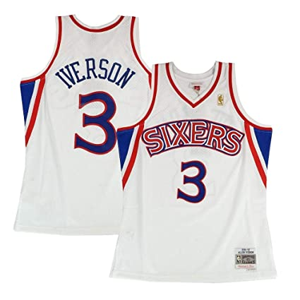 pretty nice b497a cddd5 Mitchell   Ness Philadelphia 76ers Allen Iverson 1996 Home Swingman Jersey  (Small)