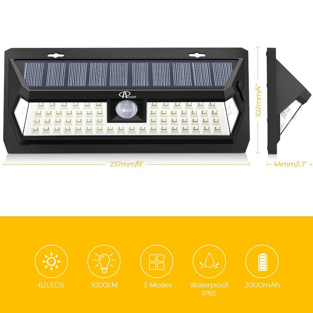 Escalier Murs Lampe Solaire Ext/érieur 62 LED IP65 /Étanche Spot Solaire Exterieur pour Jardin Garage 3 modes d/éclairage ACCEWIT Solaire Ext/érieur D/étecteur de Mouvement Cour 2 Pack