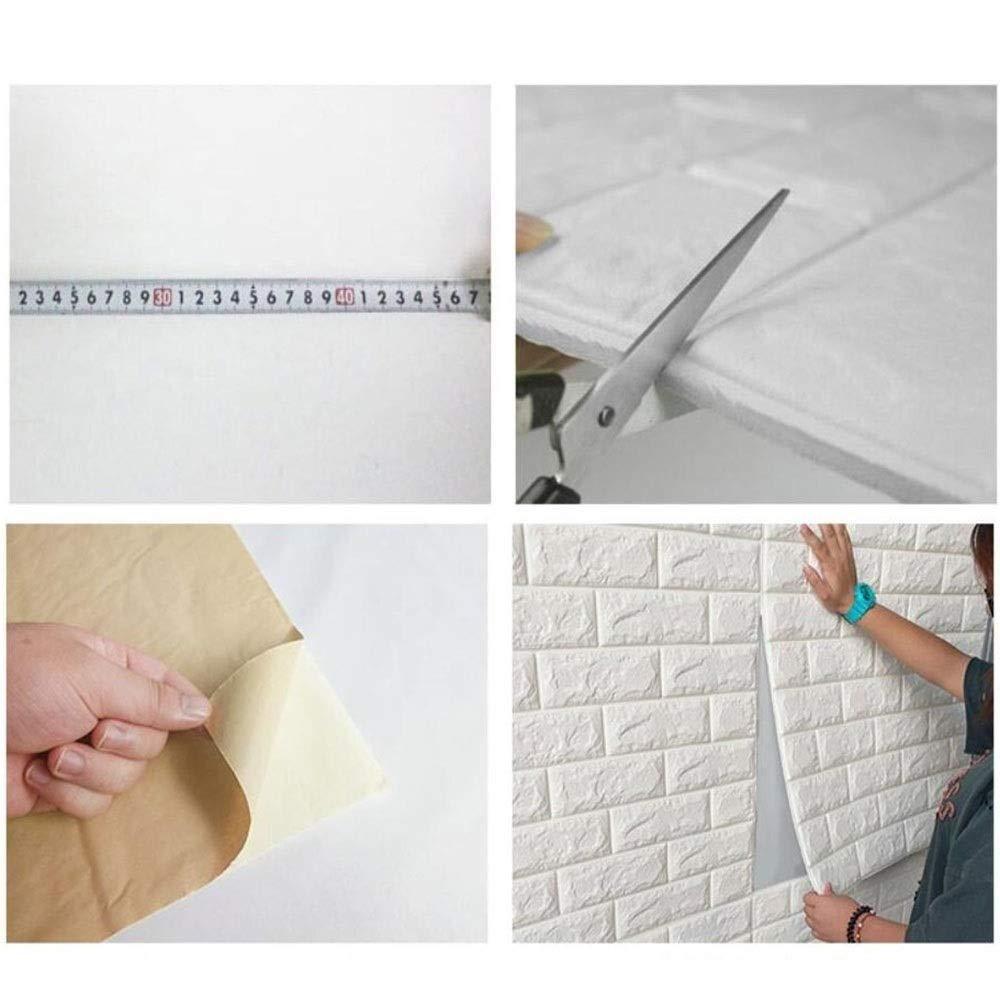 insonorisation auto-adh/ésif Papier peint Salon TV murale 30.32inch x 27.56inch Chambre Bar autocollants d/étachables Mur de briques 77cm x 70cm 3D Brique Fond d/écran,Papiers peints