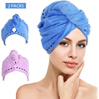htovila 2pcs Soft Microfiber Quick Dry Hair Drying Towels Water-Absorbent Dry Hair Cap Bath Shower Wrap Turban Towel with Button for All Hair Types and Lengths