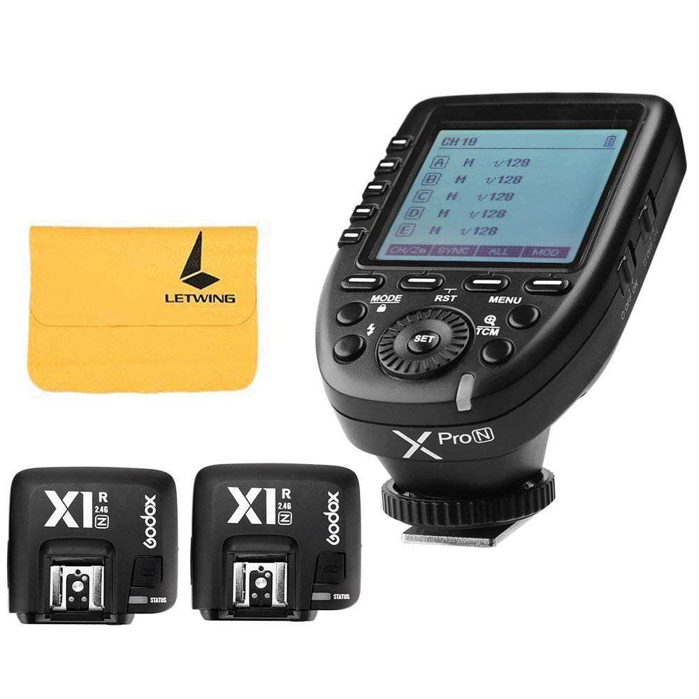 Godox Xpro-N i-TTL II 2.4G X System Wireless Control Remote Flash Trigger with 2X Godox X1R-N Controller Receiver Compatble for Nikon Camera by Godox