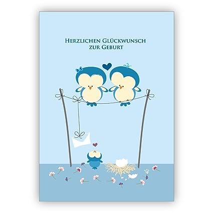 1 Hellblau Babykarte Mit Eulen Eltern Und Baby Zur Geburt