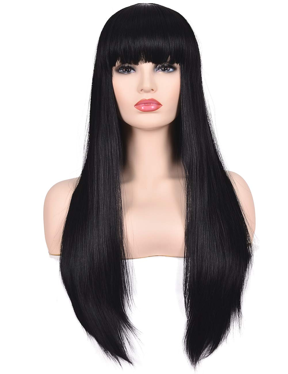 Morvally Women's 26 Long Straight Black Synthetic Resistant Hair Wigs with Bangs Natural Looking Wig for Women Halloween Cosplay