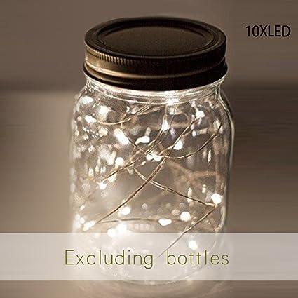 Imagen deSolar Tarro Mason Luces, 1 Piezas LED Impermeable Cristal Exterior Guirnalda Luces Oara Exterior, Decoración para el Hogar, Fiesta, Jardín, Boda - Blanco, No Incluye Botella