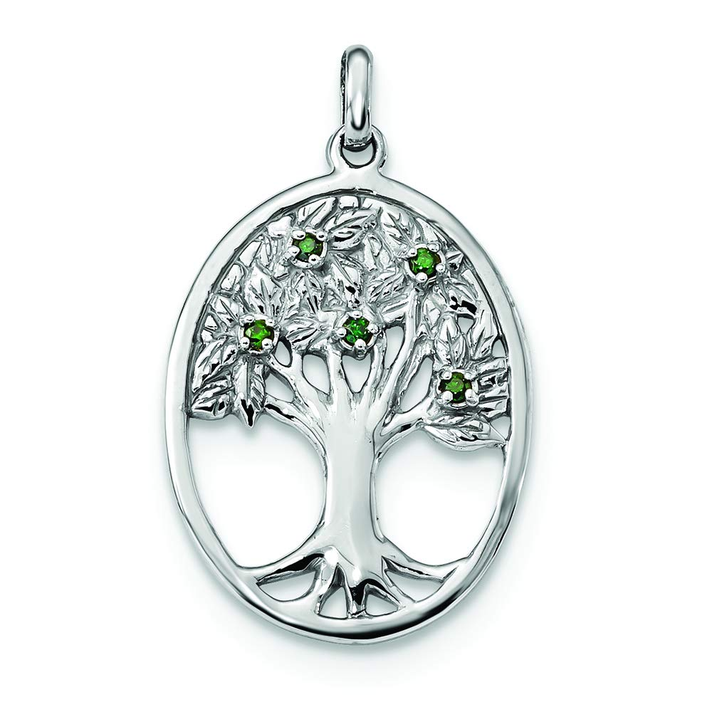 Sterling Silver Green Glass Buds Oval Tree Charm Pendant