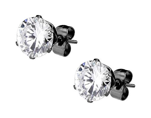 059471b9baa80 CZ Simulated Diamond Black IP Plated Surgical Steel Stud Earrings for Men
