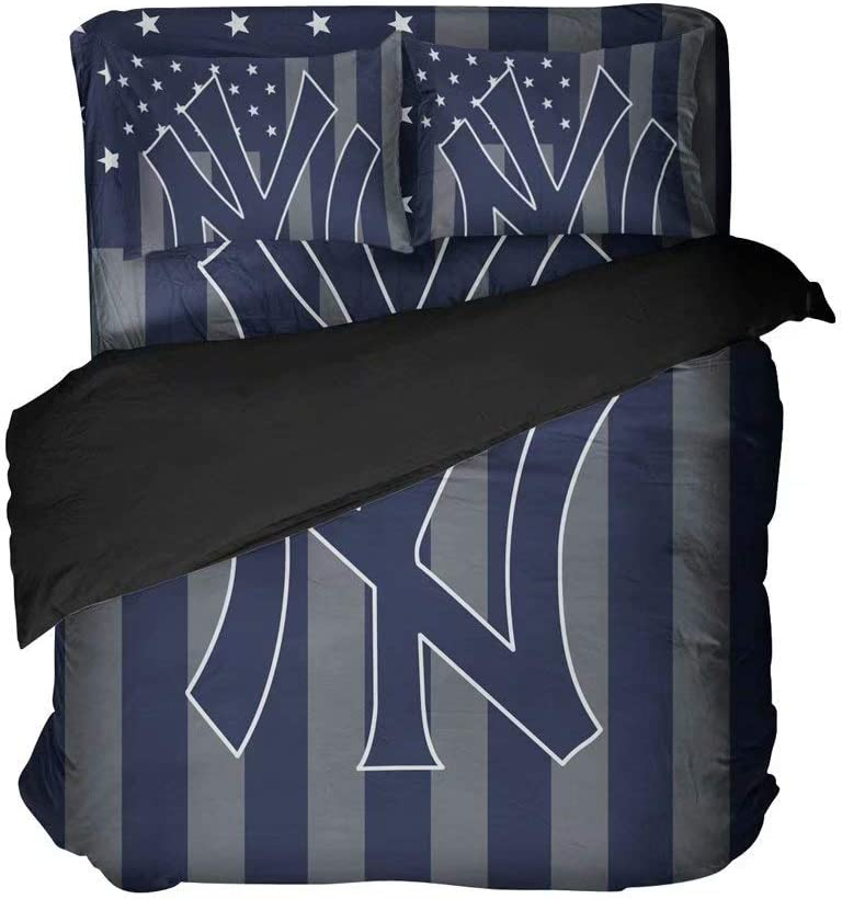 Maspt N.Y.Breathable Baseball Bed Sheet Sets Comfortable Bedspread Set Duvet Coverlets Queen 4 Pieces(Full 4pcs)