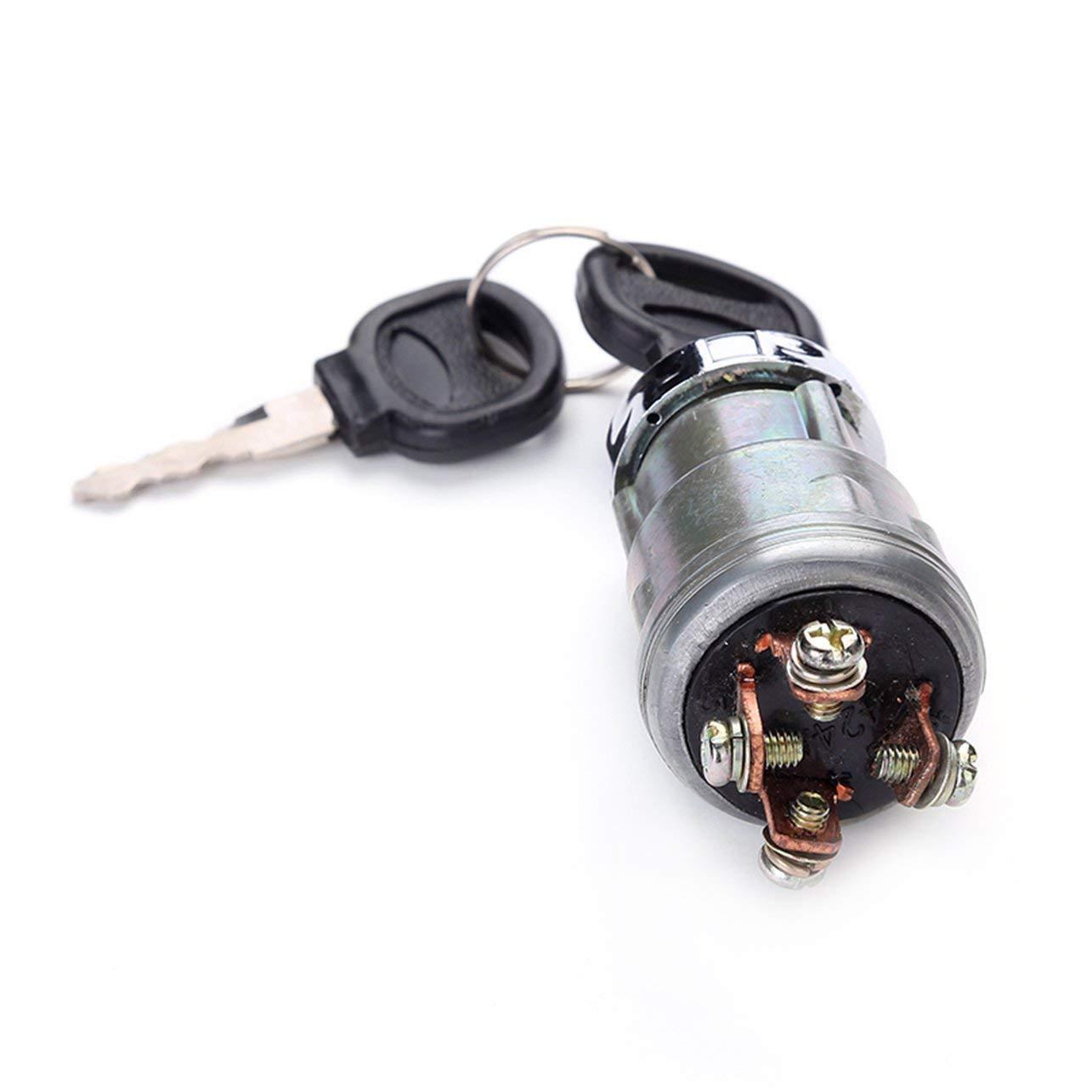 WOSOSYEYO Coche Universal Barco 12V 4 Posici/ón de Encendido del Interruptor de Arranque con 2 Llaves para Suministros Motor de Gasolina m/áquinas cosechadoras agr/ícolas