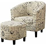 Barrel Chair for Living Room with Ottoman Upholstered Seat Round Arms Curved Back French Print Script Contemporary Style Great For Relaxing Family Gatherings Wood Legs Durable & eBook by BADAshop