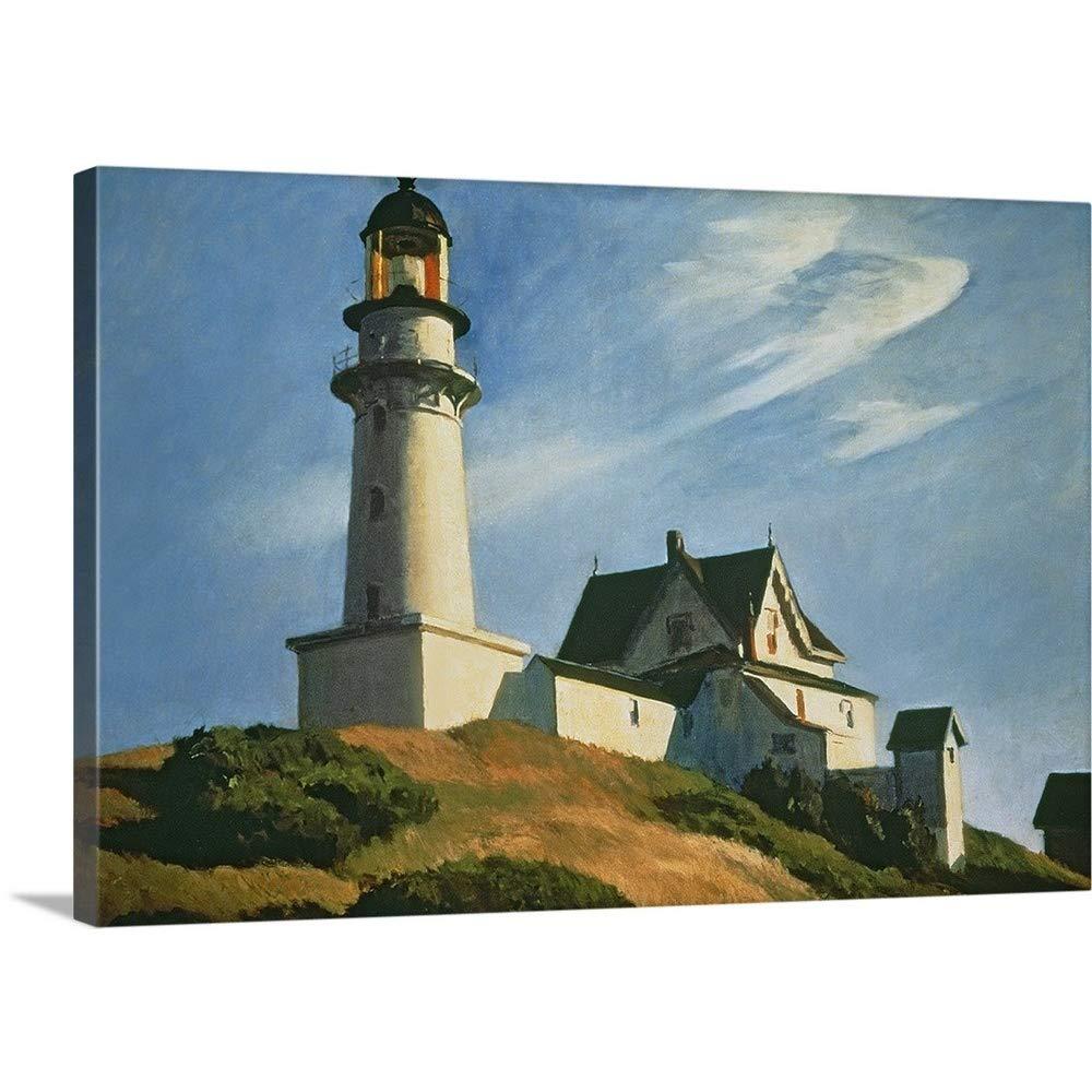 エドワードホッパープレミアムシックラップキャンバス壁アート印刷題名Lighthouse At 2つライト、1929 48