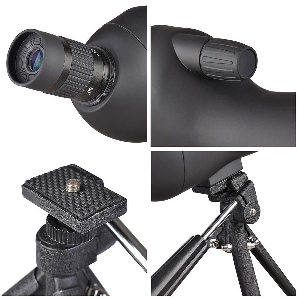 20-60x60mm Zoom Angled Spotting Scope Monocular Telescope with Tripod Soft Case Spotting Scope by 360 Tactical