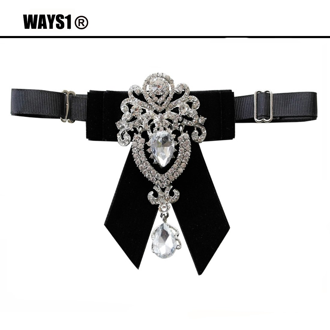 black WAYS1 Male Fashion Bow Tie For Wedding or Party velet with gemstone Adjustable Pre Handmade Crystal Mens Solid Pre-tied Formal Tuxedo Floral Jacquard Bow tie D12