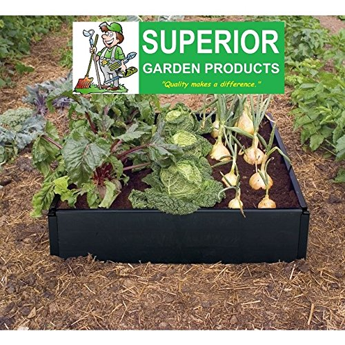 Large rot proof Raised Bed Kit in smart black plastic. Weatherproof and tough. No tools required. Stack for deep or wheelchair beds. Vegetables flowers or herb gardening. By Superior Garden Products®