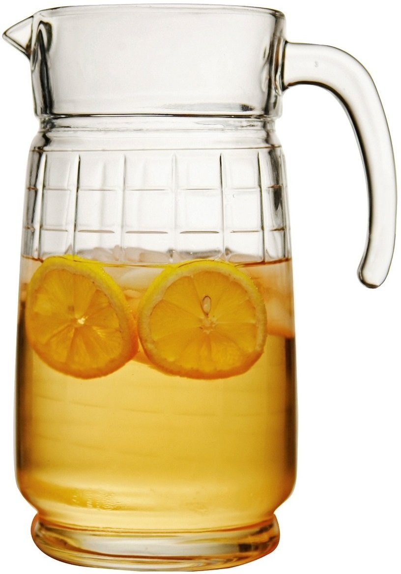 Circleware Windowpane Glass Carafe Large 8 Cup Water Pitcher with Handle, 64 ounce, Beverage Dispenser Drink Glassware for Beer Glasses, Wine, Liquor & Best Kitchen Drinking Gifts