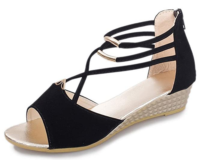 Keil-Sandalen weiblich wasserdicht mit schweren Boden Muffin mit erhöhter Fischkopf Frauen Sandalen Schuhen , black , US6 / EU36 / UK4 / CN36