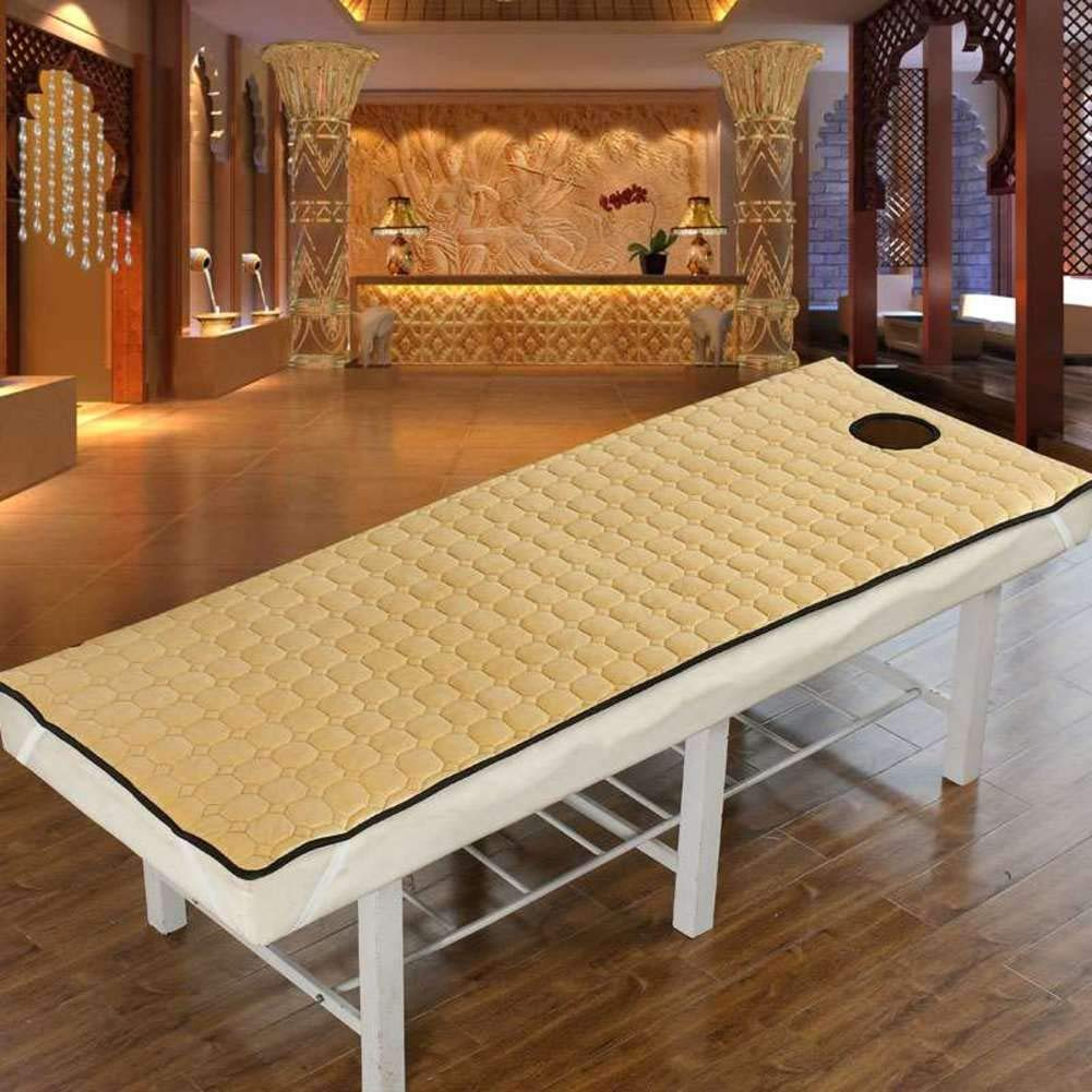 Light tan 180x60cm(71x24inch) Mattress Predection pad Beauty Bed pad,Massage Bed pad Spa Massage Table Sheet Cover Beauty Salon Bed pad Mattress with face Hole -Bean Sand 190x80cm(75x31inch)
