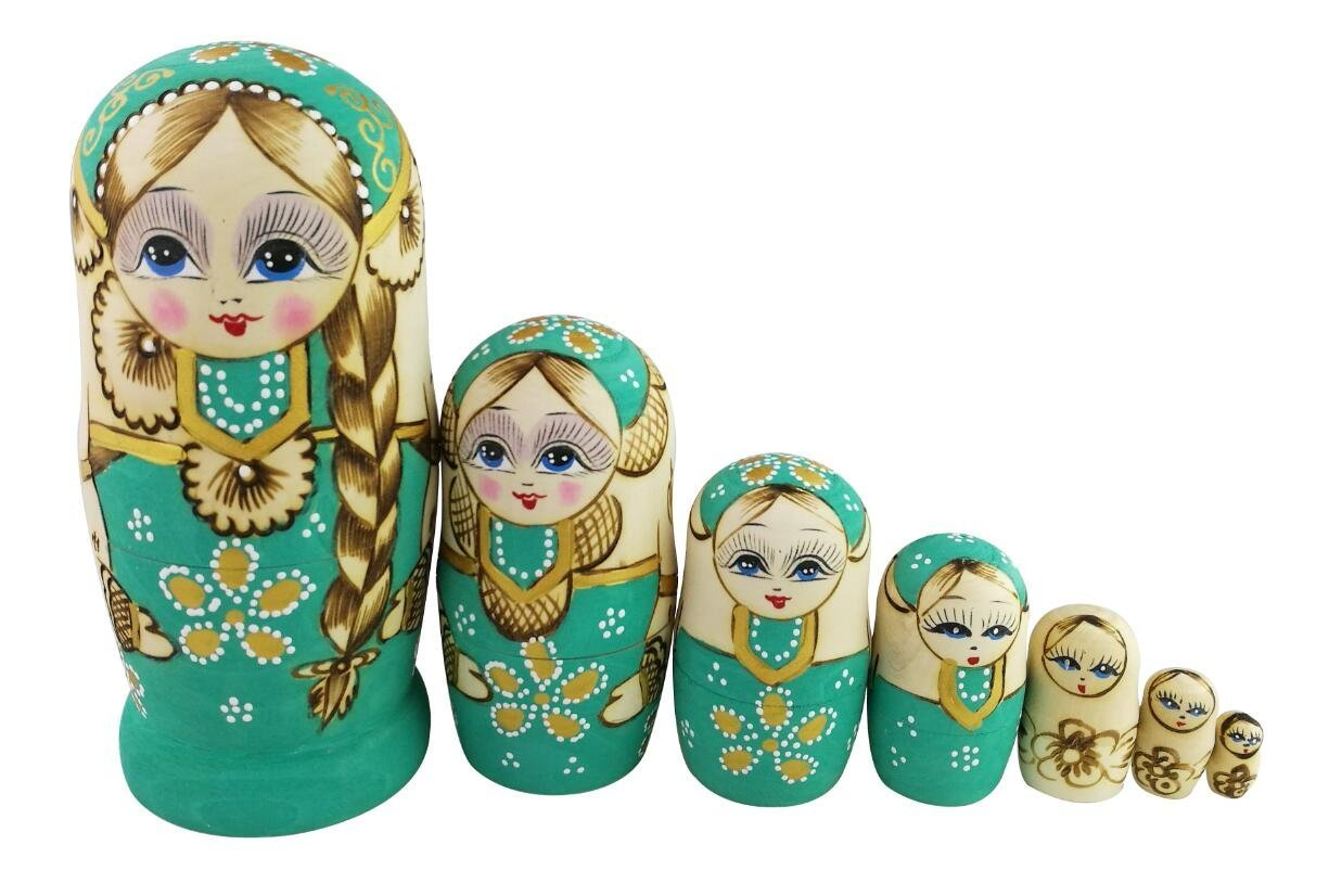Winterworm Cute Little Girl With Big Braid Handmade Matryoshka Wishing Dolls Mother's Day Gifts Russian Nesting Dolls Set 7 Pieces Wooden Kids Gifts Toy Home Decoration Green by Winterworm (Image #2)