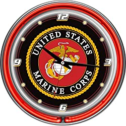 United States Marine Corps Chrome Double Ring Neon Clock, 14