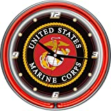 United States Marine Corps Chrome Double Ring Neon Clock, 14''