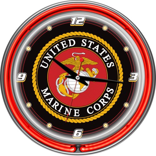 United States Marine Corps Chrome Double Ring Neon Clock, - Team Clock Wall