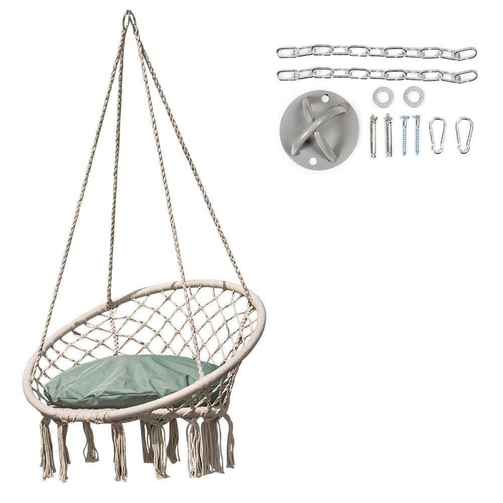 Lazy Daze Hammocks Handwoven Cotton Rope Hammock Chair Macrame Swing with Cushion and Wall/Ceiling Mount Set, 300 Pounds Capacity, for Indoor, Garden, Patio, Yard (Mint Green)