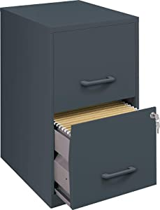 Office Designs 2 Drawer Vertical File Cabinet, Graphite, Letter, 18''D (14443/17783)