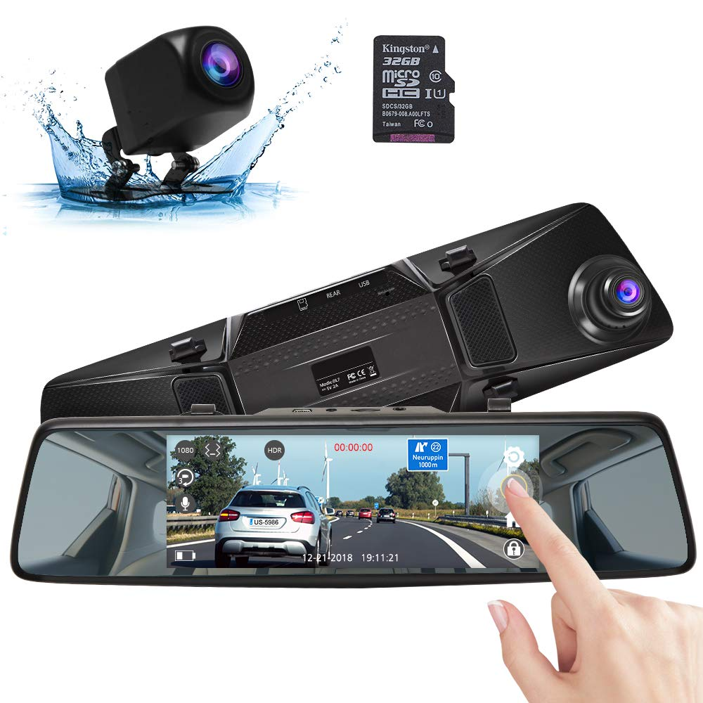 AKASO Mirror Dash Cam with Backup Camera, 1080P Dual Dash Camera for Cars 7'' Stream Media Touchscreen DVR with 32GB Card Front Rear Reversing Image G-Sensor Loop Record Parking Monitor(DL7) by AKASO