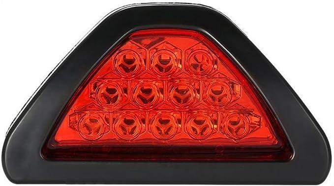 TOOGOO(R) F1 estilo 12 LED Luz de parada del freno de cola trasera Lampara de niebla DRL lente roja estroboscopica tercera